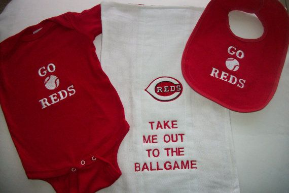 Cincinnati Reds Baby 3 Piece Set   REDS Bib  by MimiMakesMemories, $30.00  @Amber Woosley