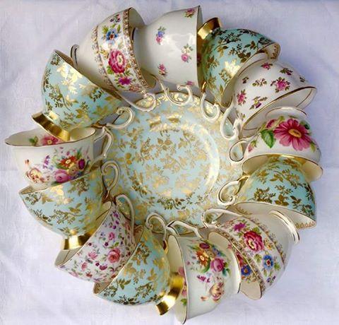 Tea cups wreath. Beautiful