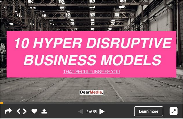 Already checked our @SlideShare on hyper disruptive business models? http://www.slideshare.net/DearMedia/10-hyper-disruptive-business-models … … #alibaba #Airbnb