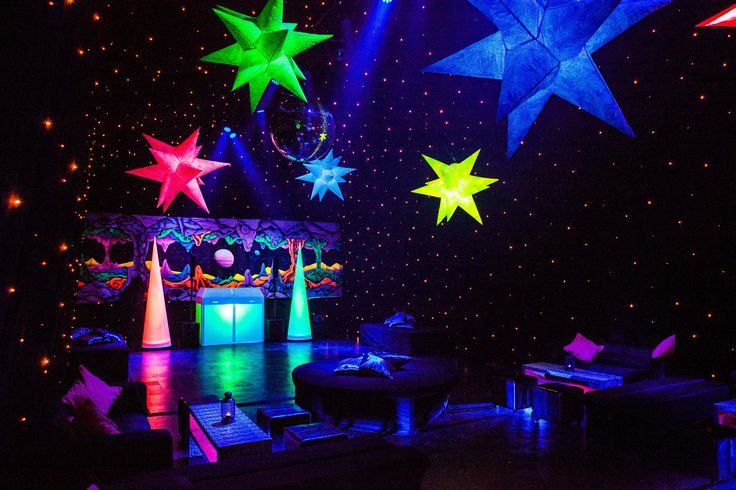 Dance space at a space themed sweet 16th birthday party with starcloth and inflatable space props - www.mirageparties.co.uk