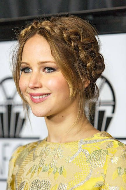 Jennifer Lawrence Hairstyles. Braided updo http://pinterest.com/NiceHairstyles/hairstyles/