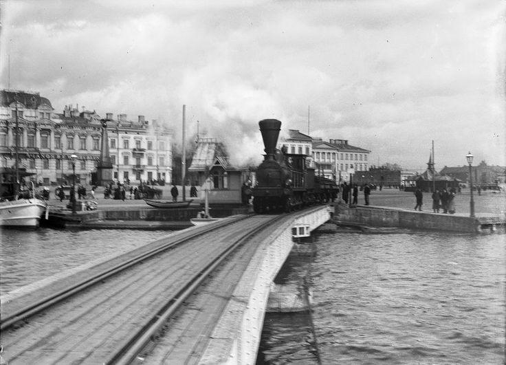 Street Scenes of Helsinki, Finland, ca. 1900s, Locomotive on the Market Square, Helsinki