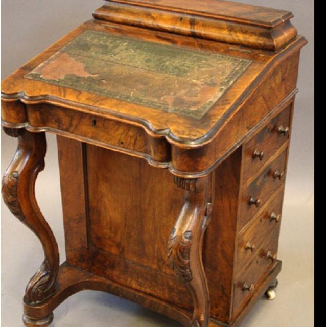A Victorian walnut Davenport #desk