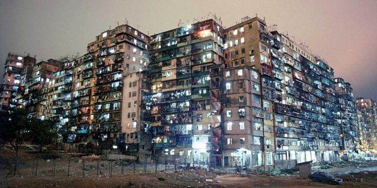 Kowloon Walled City, Hong Kong: 33,000 people lived and worked in the area of an average a city block.