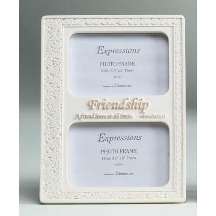"Roman 8.75 Inspirational Proverbs Friendship Double 3.5""x5"" Photo Frame #47565, Multi (Resin)"