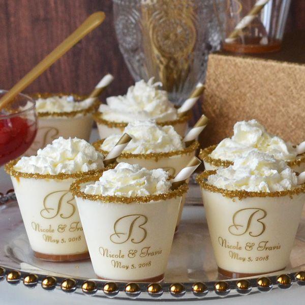5 Oz. Custom printed plastic tumbler cups used for wedding dessert cups.