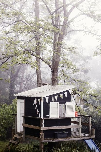 """cute shed Ah, the """"bug out"""" she'd by the river.  Much more fitting to the heritage of our valley.  No bunting, reuse wood, and no high contrast for our fishing cabin though!"""