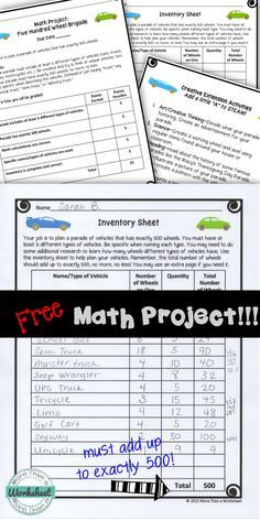 A free math project for grades 3-5 from More Than a ...