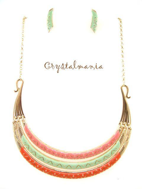 Set de collar, bisuteria, joyeria de fantasia, www.crystalmania.com.mx distribuidores de bisuteria fina por mayoreo