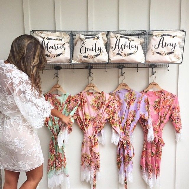Gift For Bride From Bridesmaids Day Of Wedding : ... bridesmaid gifts cotton kimono bridal shower gift Bridal Party Robes
