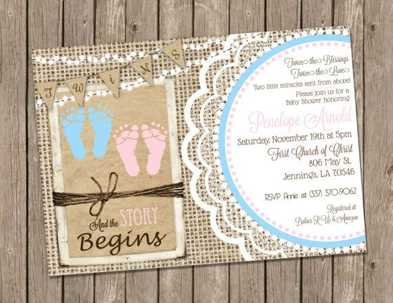 Boy and Girl Twins Baby Shower Invitation in Pink with Footprints, Burlap and Lace - printable 5x7- T3