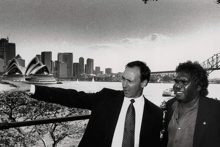 Paul Keating and Yothu Yindi lead singer Mandawuy Yunupingu was meeting the Prime Minister at Kirribilli to receive his Australian of the Year Award 1992.