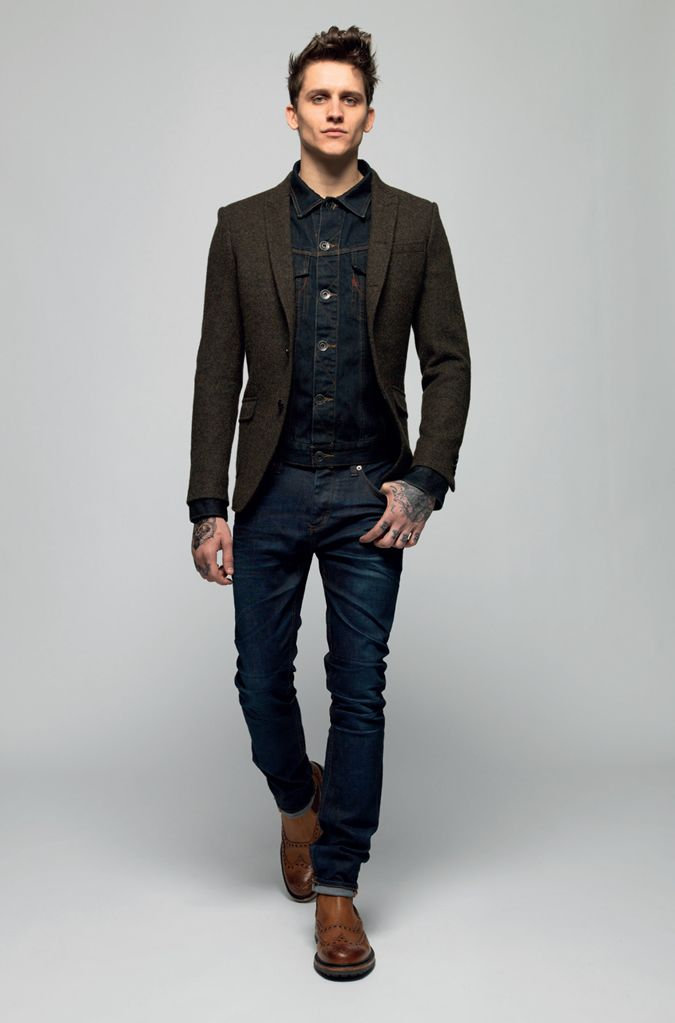 Superdry AW13 - brown wool sport coat, dark denim jacket/shirt, dark denim jeans, brown brogue boot