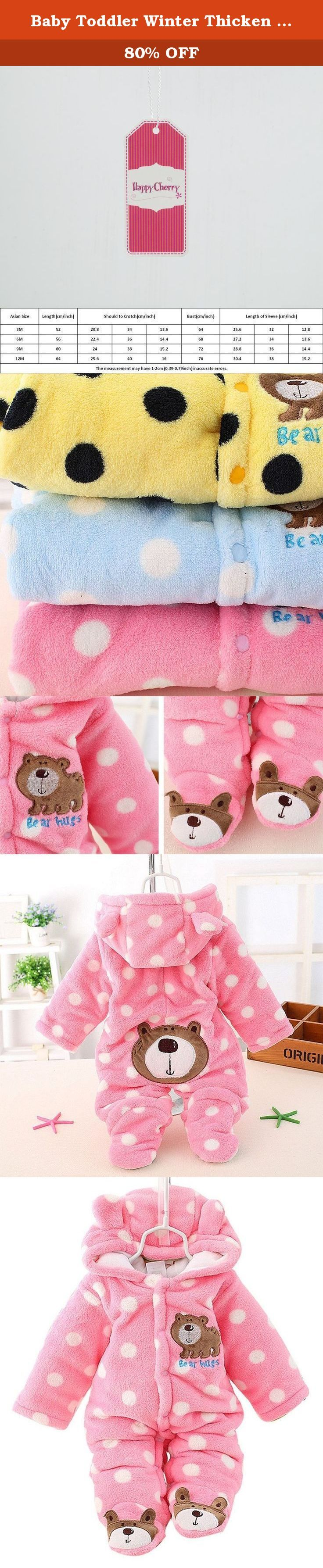 """Baby Toddler Winter Thicken Rompers Button Open Foot Cover Outwear Jacket Pink for 9-12M. Features: This romper made of 100% high quility cotton, super soft material keeps your child comfortable and warm. Suitable for spring, autumn, winter season. Lovly appearence makes your kid handsome and stylish. Specifications: Material: Cotton blend Color: As the picture shown Size: S(0-3M): Length: 52cm/20.5"""", Bust: 64cm/25.2"""", Sleeve: 32cm/12.6"""" M(3-6M): Length: 56cm/22.0"""", Bust: 68cm/26.8""""…"""