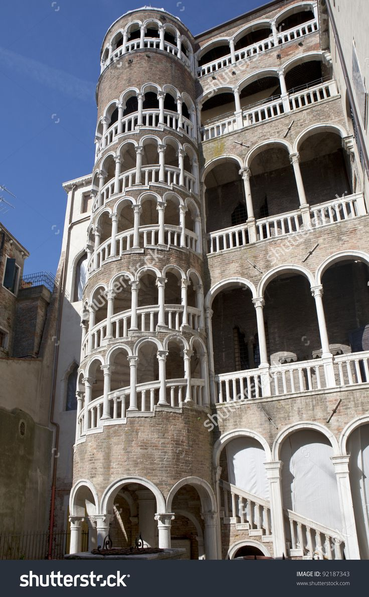 """The Palazzo Contarini del Bovolo """"of the snail""""   is a small palazzo in Venice, Italy, best known for its external multi-arch spiral staircase known as the Scala Contarini del Bovolo (literally, """"of the snail""""). The palazzo was designed and built in its current form in the 15th century by the architect Giovanni Candi as one of the city residences of the Contarini family. Giorgio Spavento is believed to have been responsible for the addition of the grand spiral staircase on the exterior in…"""