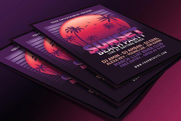Sunset Beach Party Flyer by muhamadiqbalhidayat on @creativemarket