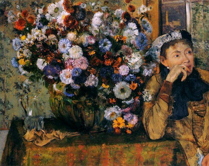 Эдгар Дега «Женщина, сидящая у вазы с цветами». 1865 г.  Холст, масло. 73,7 x 92,7 см. Метрополитен-музей, Нью-Йорк, США.