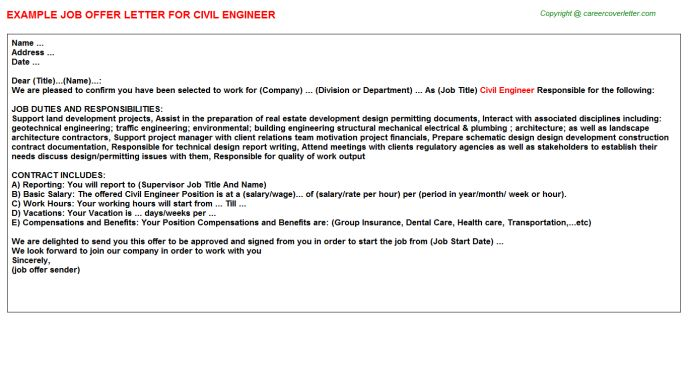 related offer letters for quot civil engineer senior letter Home - offer letter