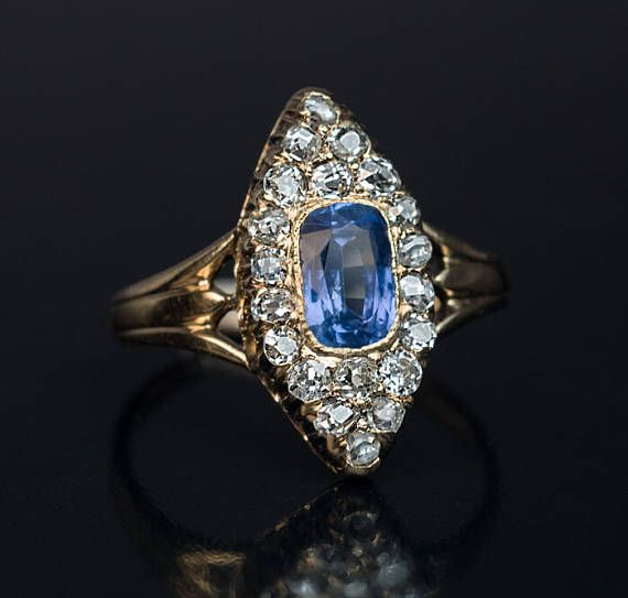 Sparkling Marquise Blue Sapphire Ring Women Engagement Jewelry 14K Rose Gold