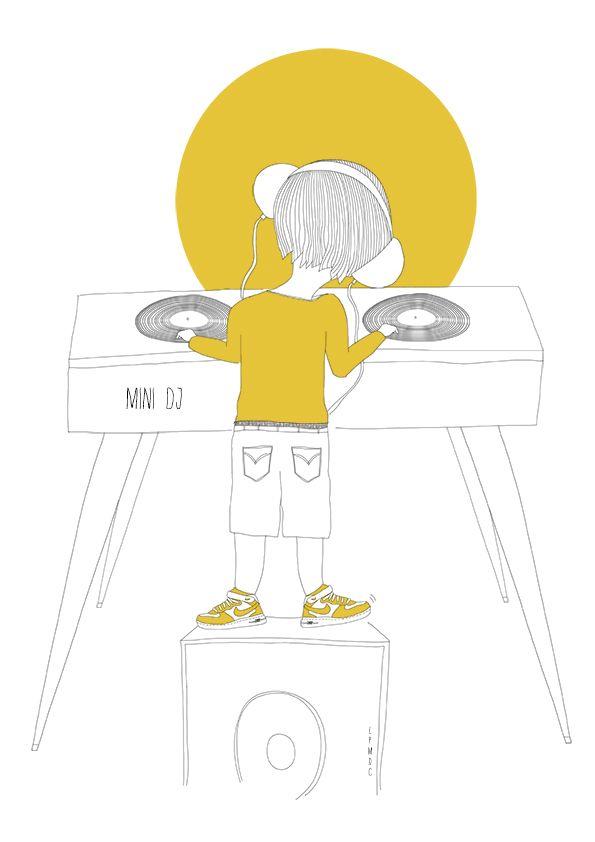 """Mini DJ"" illustration enfant, DJ, moutarde, platine, nike jaune, affiche enfant, décoration enfant, LPMDC"