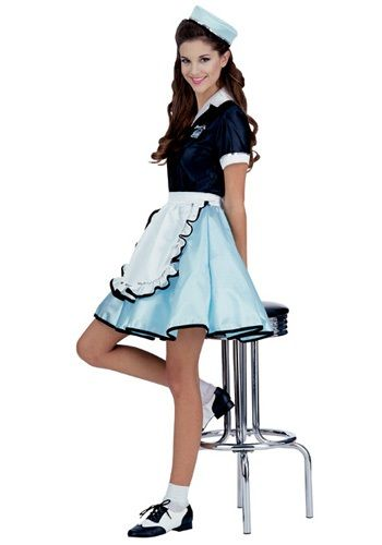Roll into Halloween with this 50s car hop waitress costume! This retro Halloween costumes and our adult 1950s costumes are swell. We have many car hop costumes for women!