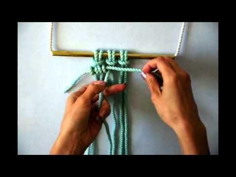 (13) Macrame - How to tie a row of Horizontal Clove Hitch Knots - YouTube