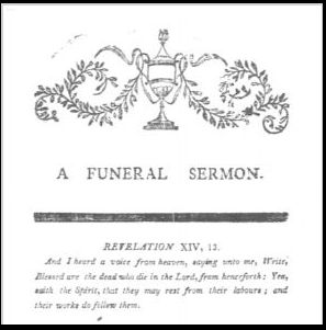 """Cover page of the funeral sermon for Mrs. Lydia Fisk, by Nathanial Emmons, 1805. Read more on the GenealogyBank blog: """"Funeral Sermons: How to Research Funeral Records for Genealogy."""" http://blog.genealogybank.com/funeral-sermons-how-to-research-funeral-records-for-genealogy.html"""