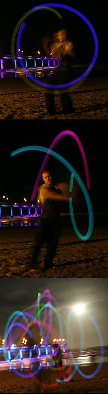 Multi-Color LED Poi Set with Nylon Cords and Art of Poi DVD