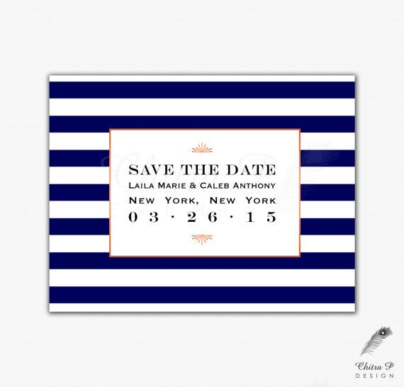 Navy Save the Date - Printed or Digital, Wedding, Engagement, Art Deco, 20s, Rose Gold, Monogram, Formal, Stripes, Gatsby - Chitrap.etsy.com