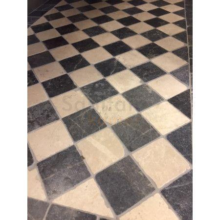 Jabo Dambord vloer beige marmer en Turks hardsteen anticato 10x10x1