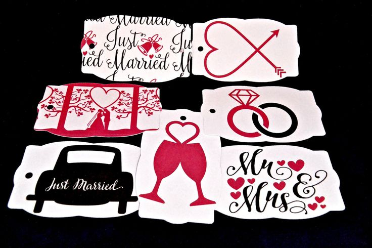 Assorted Wedding Tags, Pink, Black, Just Married Car, Mr & Mrs, Heart, Engagement, Rings, Champagne Glasses, Spouse, Bride, Groom, Bridal, by TheArtOfCreativityCo on Etsy