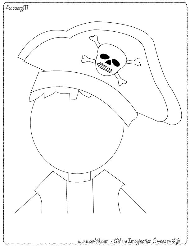 Finish the Pirate! CreKid.com - Creative Drawing Printouts - Spark your child's imagination and creativity. So much more than just a coloring page. Preschool - Pre K - Kindergarten - 1st Grade - 2nd Grade - 3rd Grade. www.crekid.com