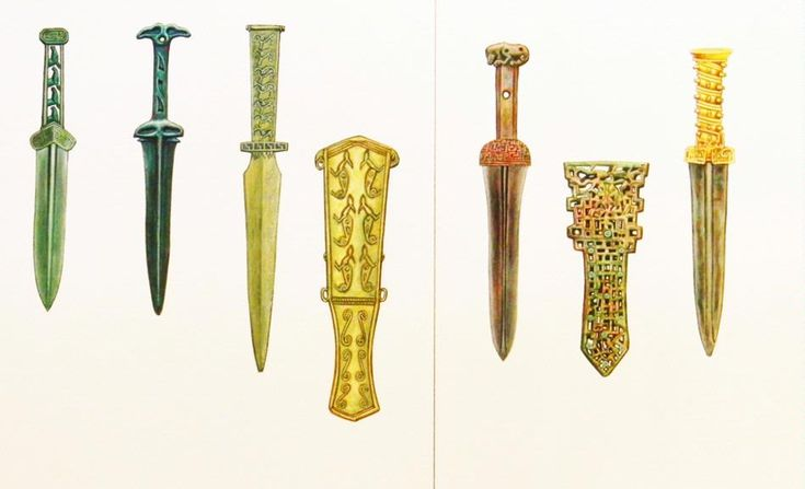 An original gouache painting by illustrator, Alexander Valdman, depicting seven ancient Scythian gold embellished daggers from various collections.