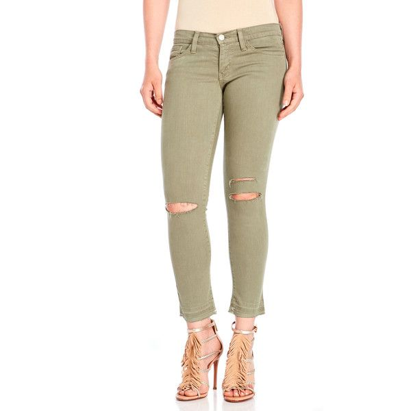 Flying Monkey Olive Ripped Knee Jeans ($50) ❤ liked on Polyvore featuring jeans, green, super skinny jeans, brown skinny jeans, torn skinny jeans, green skinny jeans and destroyed skinny jeans