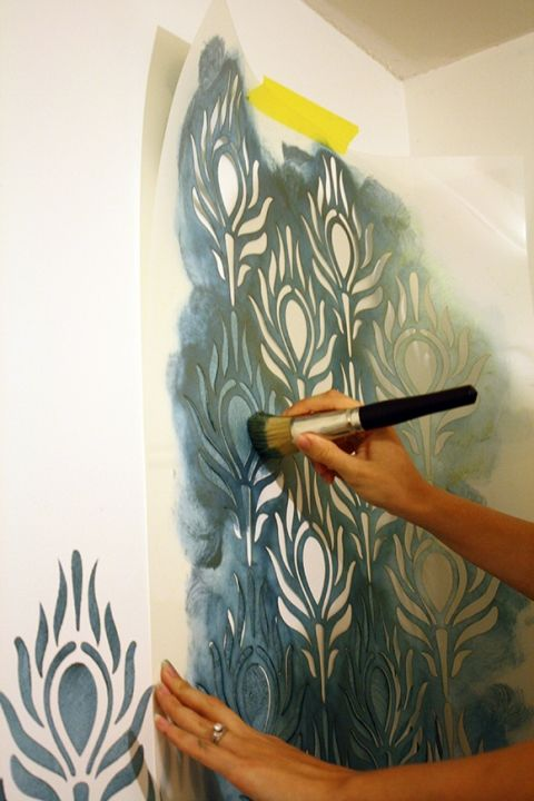 How to stencil: large peacock stencil in teal paint
