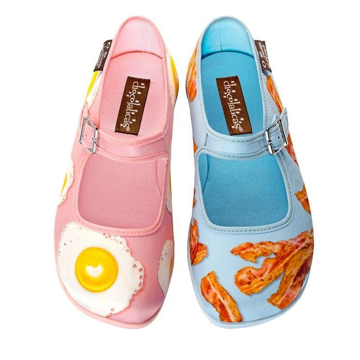 "#Chocolaticas ""BREAKFAST"" #flats #MaryJanes #Shoes #bacon #eggs #brunch #HotChocolateDesign"