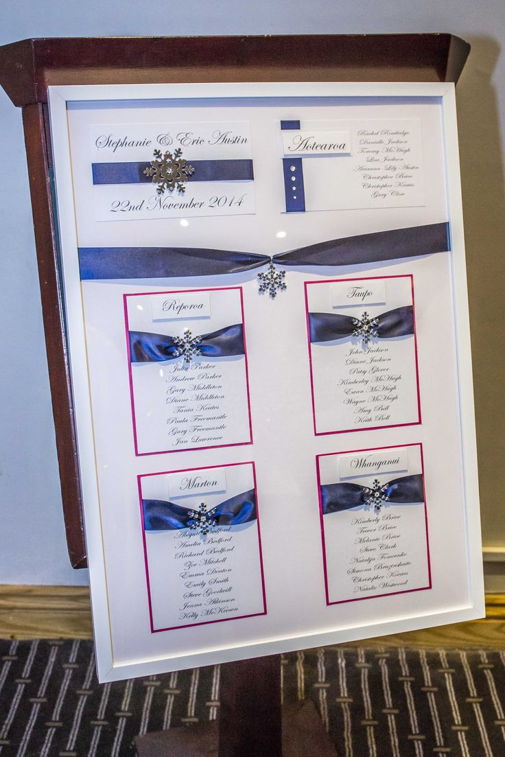 Navy blue with a touch of fuchsia, seating plan.