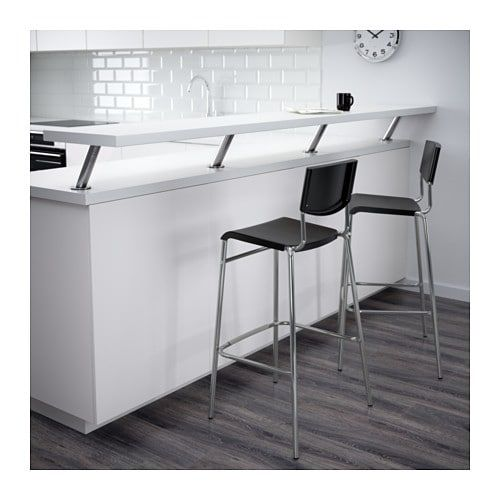 Stig Bar Stool With Backrest Black Silver Color 29 1 8 Bar
