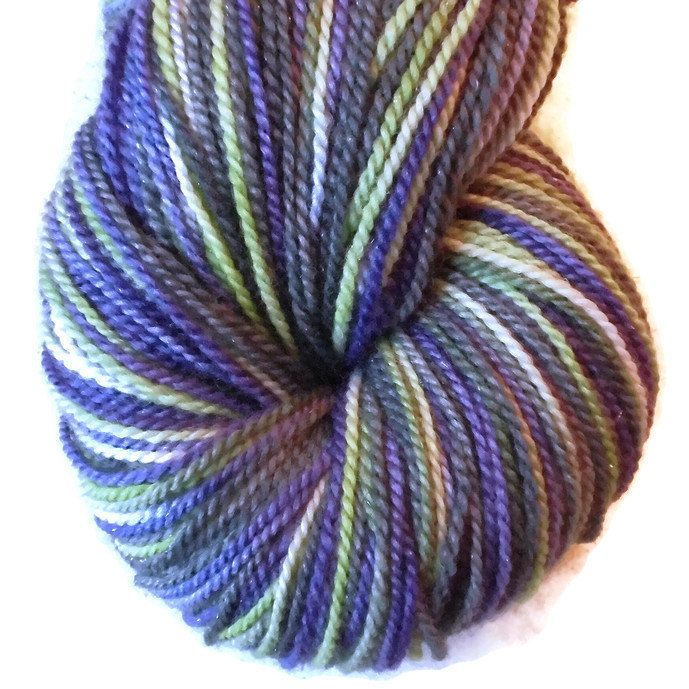 "Merino Glitter Luxury Sock Yarn Purple, Green, Dark Grey Hand Dyed ""Nordich Nights"", 2-ply Sock Yarn, Purple, Green, Black Yarn, Glitter"