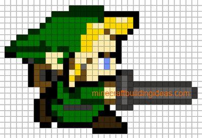 Minecraft Pixel Art Templates: Link(zelda)