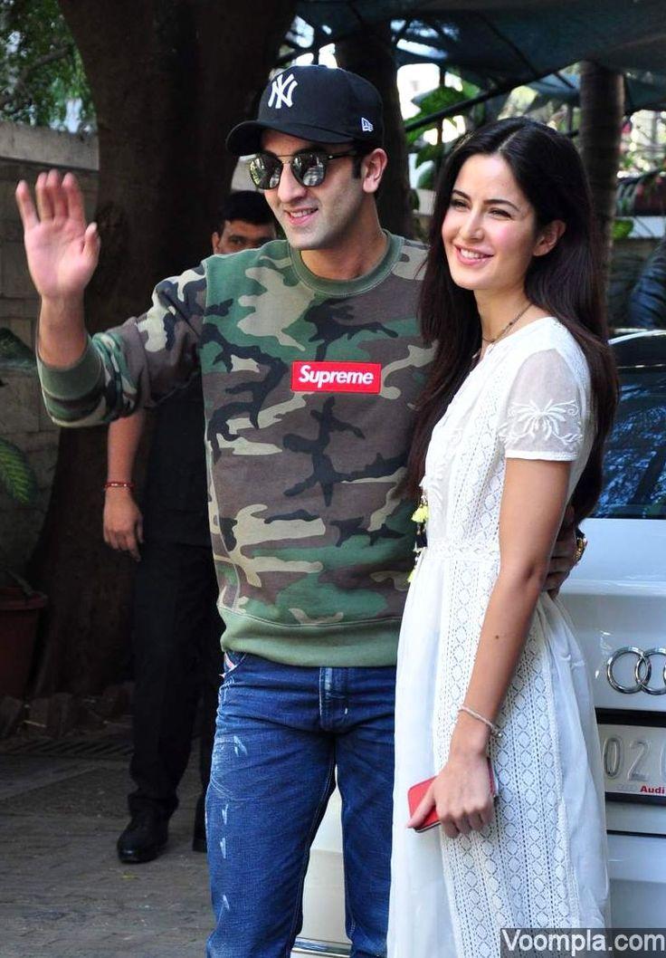 Ranbir holding Katrina by waist white Audi car sweet couple