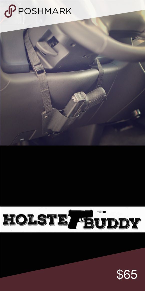 Glock holster - gun holster for vehicle - holster HolsterBuddy vehicle holsters! These holsters come BRAND NEW, Handmade in Michigan! GUN NOT INCLUDED. Mounts under your steering wheel w/straps & is adjustable..Easy install w/NO drilling.  Comes in black w/black straps.   Which gun?- Glock 26/27/33 Glock 42 Glock 43 Glock 19/23/32 Glock 30S Glock 36  CHOOSE RIGHT or LEFT hand.  Please check your state laws on carrying this in your vehicle before ordering. More info on HolsterBuddy's Etsy…