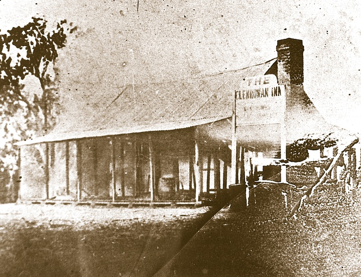 The burning structure of the Glenrowan Inn just prior to it's collapse. The bodies of Dan Kelly and Steve Hart were incinerated in one of the back rooms.