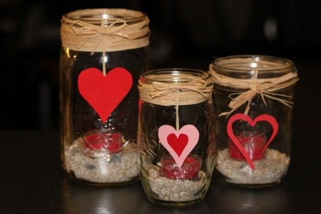 Jars with candles and hearts