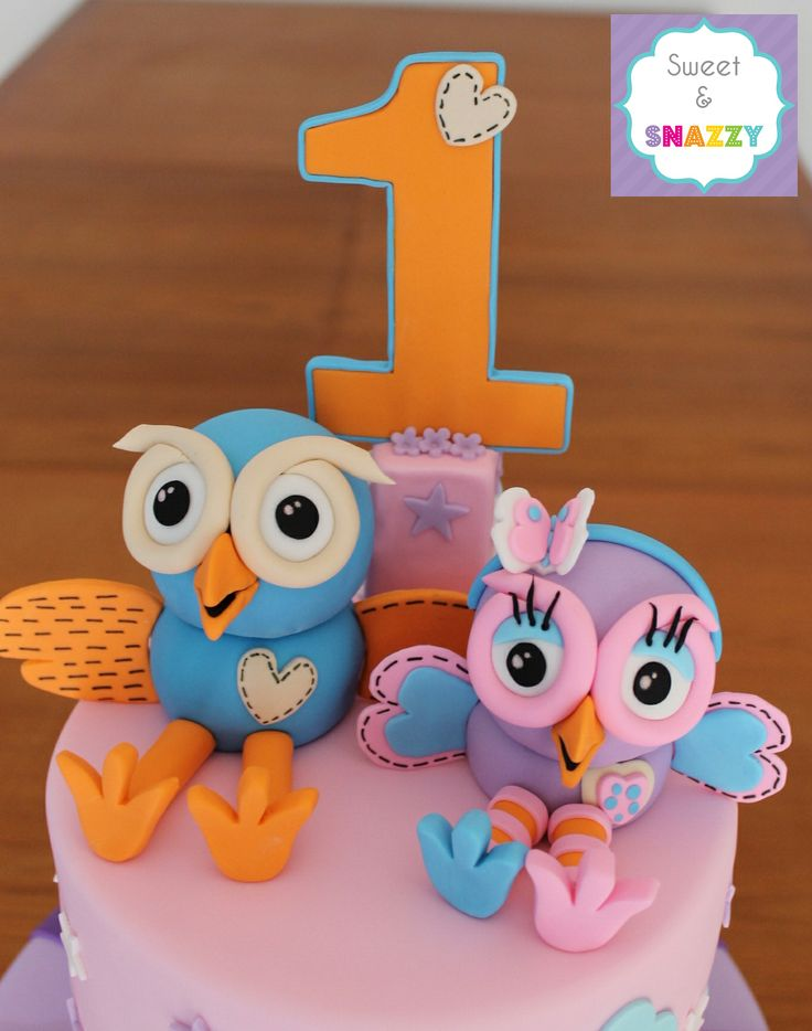 Hoot & Hootabelle Cake Toppers by Sweet & Snazzy https://www.facebook.com/sweetandsnazzy