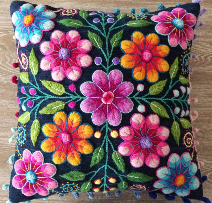 Pillow cushion covers Hand embroidered flowers Sheep & от khuskuy