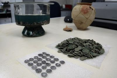 Roman coin hoard found in downtown Sofia (Bulgaria) - nearly 3000 silver denarii from the 1st and 2nd c AD. The coins were found in a ceramic vessel which bears the name of it's last owner Selvius Calistus – was scratched on the outside  of the vessel or 'Selvii Calyst' a Roman citizen of Greek origin.