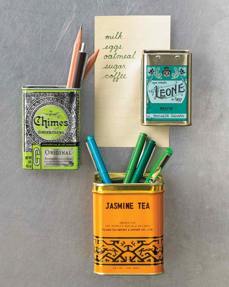 Give pretty spice or candy containers a new life in seconds by turning them into refrigerator magnets. Place a small, powerful magnet inside the back of an empty tin, which makes the tin itself magnetic. (Nonmetallic containers will work if you stick an adhesive magnet on the outside.)