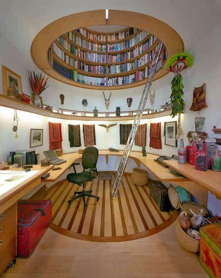 intérieur design bibliothèque dans plafond