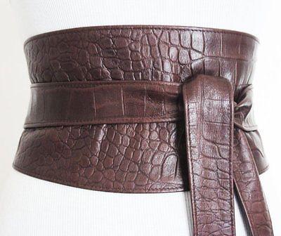 Brown Croc Corset Obi Belt   Leather Waist Belt   Corset Sash Belt   Plus Size
